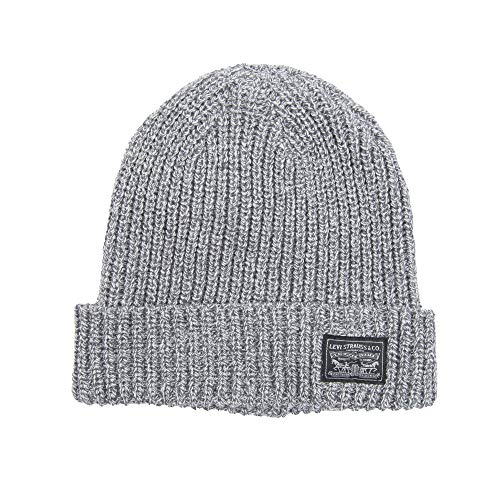 Levi's Classic Warm Winter Beanie Hat Cap Fleece Lined for Men and Women, Grey Knit, One Size