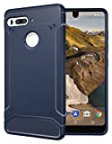 Essential Phone PH-1 Case, TUDIA Carbon Fiber Design Lightweight [TAMM] TPU Bumper Shock Absorption Cover for Essential Phone PH-1 (Navy Blue)