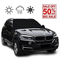 Black Windshield Cover Snow Ice Frost Rain Resistant, Waterproof Windproof Dustproof Outdoor Car Covers