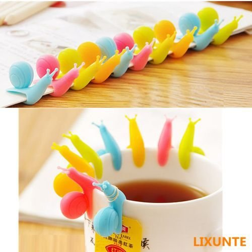 UNAKIM--5PCS Silicone Glass Cup Markers Snail Wineglass Label for Hanging Tea Bag Holder