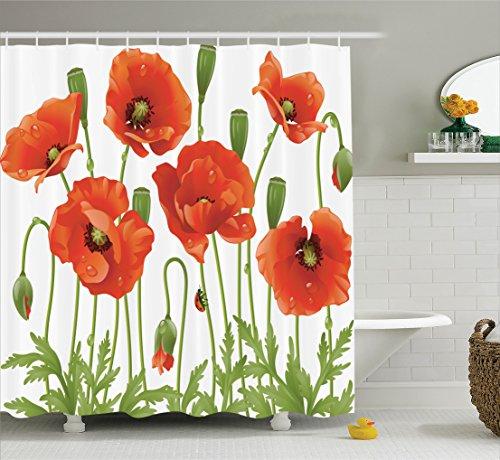 Ambesonne Poppy Decor Collection, Spring Wildflower Poppy Ladybug Leaf Springtime Garden Backyard Image Pattern, Polyester Fabric Bathroom Shower Curtain Set, 75 Inches Long, Orange Red Green