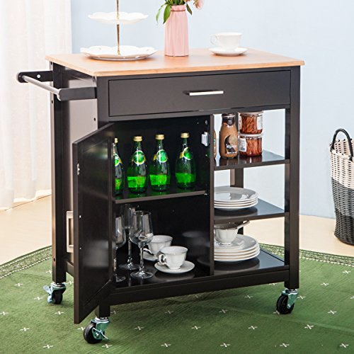 Merax WF038457PAA Kitchen Storage Cart with Drawer and Lockable Wheels,...