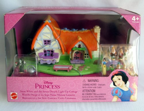 POLLY POCKET SNOW WHITE Doll & the 7 Dwarfs LIGHT UP COTTAGE