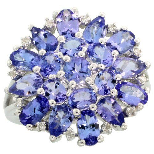 Sterling Silver Genuine Tanzanite Cluster Ring 4.0 cttw Diamond accent 3/4 inch size 7 ()