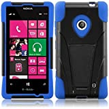 HRWireless T-Stand Impact Kickstand Hybrid Double Layer Fusion Cover Case for Nokia Lumia 521, Retail Packaging, Black/Blue
