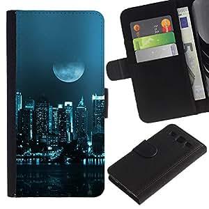 KLONGSHOP // Tirón de la caja Cartera de cuero con ranuras para tarjetas - Moon City - Samsung Galaxy S3 III I9300 //