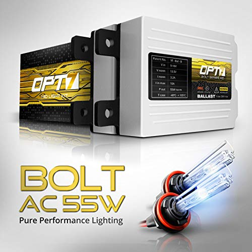 OPT7 Bolt AC 55w H11 H8 H9 HID Kit - 5X Brighter - 6X Longer Life - All Bulb Sizes and Colors - 2 Yr Warranty [6000K Lightning Blue Xenon Light]