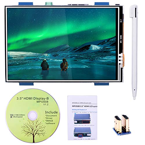 for Raspberry PI 3 Generation TFT Touch Screen, Kuman 3.5 inch TFT LCD Display Monitor Support All Raspberry PI System, Video Movie Play, Arcade Game, HDMI Audio Input SC6A (3.5 inch HDMI RPI Screen)