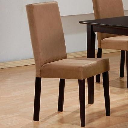 Genial Coaster Microfiber Chairs, Cappuccino, Set Of 2