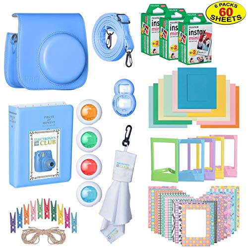 The Ultimate Accessories Kit Bundle Fujifilm Instax Mini 9 Instant Film Camera | Includes Leather Camera Case + 60 Sheets Instant Film + Photo Album + Frames + Close-Up Selfie Lenses + More