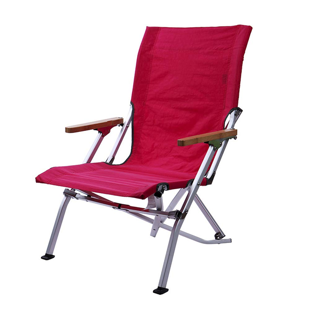 Outdoor Folding Lounge Chair Beach Chair Camping Fishing Leisure Comfortable Folding Chair-Rosered