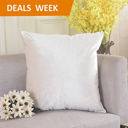 Velvet Square Throw Pillow Cover Euro Sham for Bedding, 26x26, Pearl Ivory - Euro Shams Covers