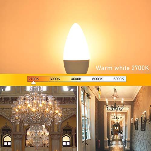 Candelabra Light Bulb E12 Base Ceiling Fan Light Bulb 2700K Warm White, Winshine E12 LED Bulb 60 Watt Equivalent Type B Small Base Light Bulb for Ceiling Fan Chandelier Non-Dimmable 5 Pack