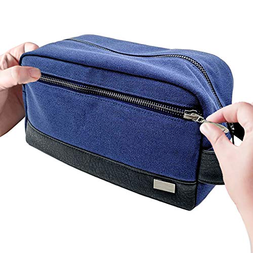 - Travel Toiletry Bag for Men - Compact Dopp Kit10 x 4.5 x 5.5 Inches - Waterproof Canvas - Hold Your Shaving Kit and Toiletries for Gym or Traveling - Gift Boxed - Blue with Black Vegan Leather Trim