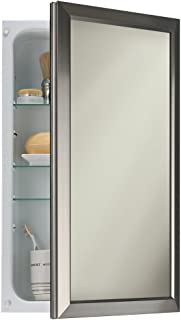 Broan-NuTone 625N244SNC H&ton Recessed and Framed Medicine Cabinet Satin Nickel & Broan-NuTone S568N344SSWHP Studio V Single-Door Recessed Medicine ...