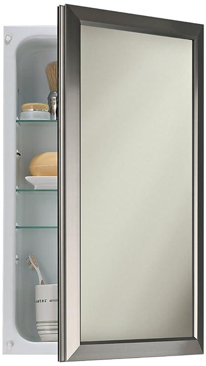 Bon Broan NuTone 625N244SNC Hampton Recessed And Framed Medicine Cabinet, Satin  Nickel