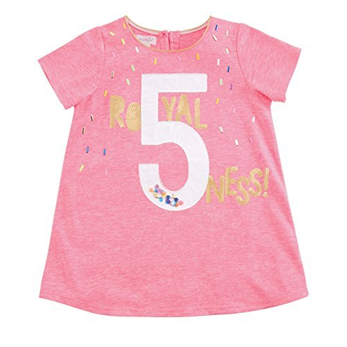 Mud Pie Baby Girls Fifth Birthday Short Sleeve T-Shirt, Pink, (5th Birthday Toddler T-shirt)