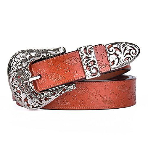 TALLEFFORT Ladies Vintage Western Leather Belts for Women Genuine Leather Belt 1-Brown-S