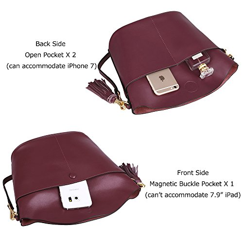 Purse Tassel Cowhide Shoulder ZONE Small Handbag Crossbody Genuine Burgundy Women's S Bag Leather Version Upgraded YB8Fw8q