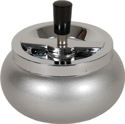 5.5'' Large Metal Spinning Ashtray - Metallic Glitter Rounded Bottom (Silver)
