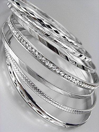 (7 PC Etched Silver Metal CZ Crystals Plus Size Wide Bangle Bracelets)