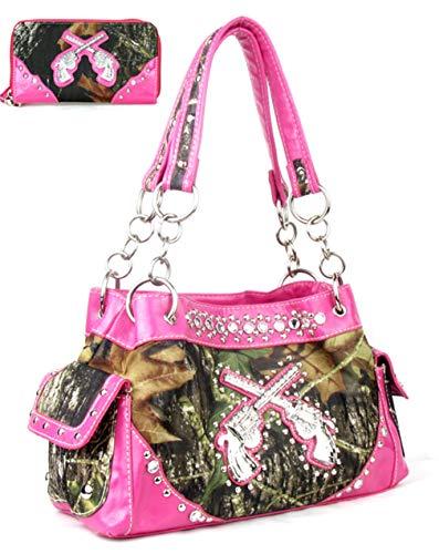GoCowgirl Western Crossed Guns Purse Camouflage Handbag Camo W Matching Wallet (Pink) ()