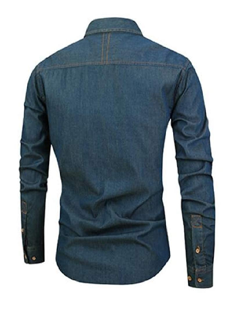 Revolutee Men Slim Fit Faded Casual Button Up Denim Long Sleeve Shirts