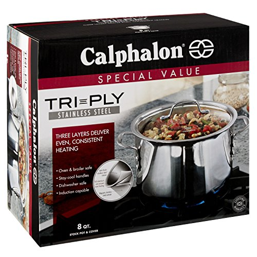 Calphalon (1767727) Tri-Ply Stainless Steel 8-Quart Stock Pot with Cover by Calphalon (Image #4)