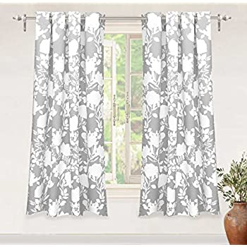DriftAway Floral Delight Botanic Pattern Room Darkening Thermal Insulated Grommet Unlined Window Curtains Set of 2 Panels Each 52 Inch by 63 Inch Gray