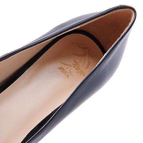 AllhqFashion Tacón Medio Cuero de Vaca Slip-on Mujer Puntera Redonda ZapatosdeTacón Negro-Cuerodevaca