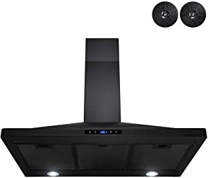AKDY Convertible Kitchen Wall Mount Range Hood in Black Painted Stainless Steel with Lights and Carbon Filters (36 in.)