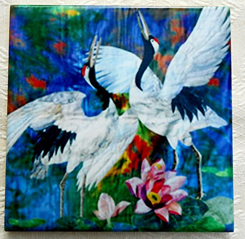 Decorative Ceramic Tile Coaster, Pair of Cranes & Lotus Flower Art, Birthday Wedding New Home Gift