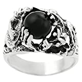 [AZ] Sterling Silver Men's Black Onyx Dragon Ring