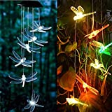 Barhalk Solar Color-Changing Wind Chime Light Transparent Dragonfly Hanging Lamp Indoor Outdoor Decoration LED Lights for Lawn - Garden - Patio - Yard - Hall - Roof - Living Room (Multicolor)