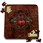 3dRose Lucia - Steampunk - Romantic Steampunk Design. A Heart with a Key and Mechanic Wings - 10x10 Inch Puzzle (pzl_289790_2) 5