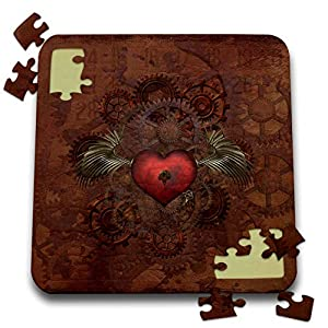 3dRose Lucia – Steampunk – Romantic Steampunk Design. A Heart with a Key and Mechanic Wings – 10×10 Inch Puzzle (pzl_289790_2)