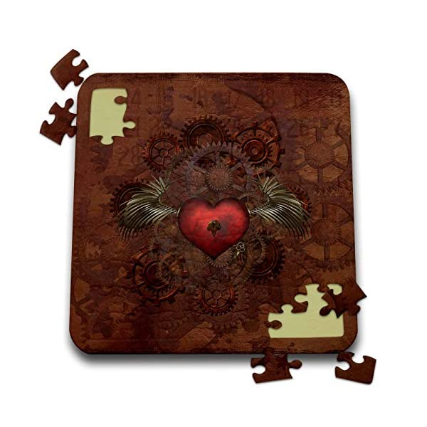 3dRose Lucia - Steampunk - Romantic Steampunk Design. A Heart with a Key and Mechanic Wings - 10x10 Inch Puzzle (pzl_289790_2) 3