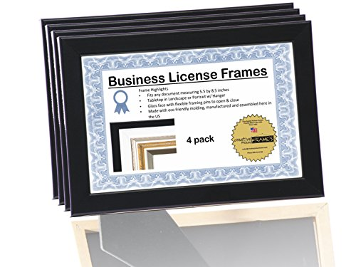 8.5x5.5 or 5.5x8.5 inch Professional Black Business License Certificate Frame, Self Standing Portrait or Landscape with Wall Hanger (4 Pack) (License Display Frame compare prices)