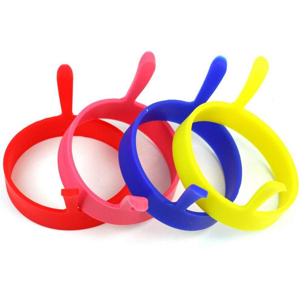 Potelin Omelette Ring Omelette Mould Frying Round Shape Egg Mold Cooking Device Tools Kitchen Appliances Red Blue Yellow Pink 4 Pcs