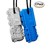 GoGoChews Chew Necklace - Train Shape Chewelry for Boys & Girls, Oral Motor Therapy Tool/Chew, Provides Sensory Input for Special Needs Chewers, Calming Necklace for Teething & Biting (Blue/Silver)