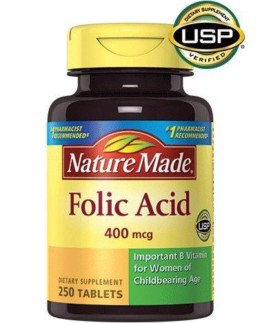 Folic Acid Pills (Nature Made Folic Acid 400 mcg. Tablets 3 Pack)
