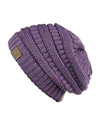 Trendy Warm Chunky Soft Stretch Cable Knit Beanie Skully, Violet