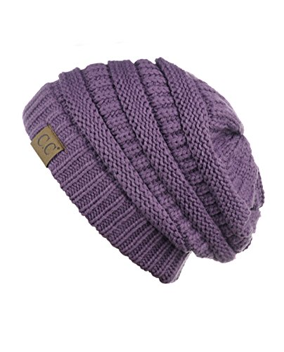 (C.C Trendy Warm CC Chunky Soft Stretch Cable Knit Soft Beanie Skully, Violet)