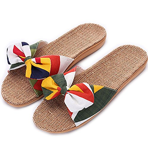 Non Slip Shoes Slippers Bohemia Print Slippers Summer Flat Hemp Women Home Flax ZHOUZJ 2605 pF41qW