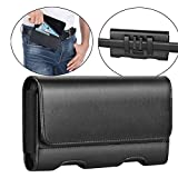 Mopaclle Galaxy Note 10 Plus Holster Case, Premium Leather Galaxy Note 9 Belt Clip Case Holster Pouch Sleeve Phone with ID Card Holder for Samsung Note 10+ 5G/ Note 8 (Fits w/Otterbox Case On) Black