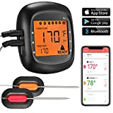 Bluethooth wireless thermometer, Habor digital food meat thermometers with 6 Probe Ports Alarm Monitor for iOS & Android Mobile Applications for Kitchen Cooking BBQ Grill Smoker (Comes with 2 Probes)