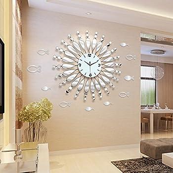 Modern Minimalist Mirror Wall Clock Living Room Decor Quiet Quartz Clocks  White