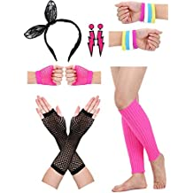 Satinior Women's 80s accessories, Lace Headband, Lightning Type Neon Earrings, Fishnet Gloves, and Warm Leg Gloves