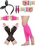Satinior-Womens-80s-Accessories-Lace-Headband-Lightning-Type-Neon-Earrings-Fishnet-Gloves-and-Warm-Leg-Gloves