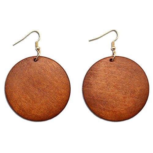 - ALoveSoul Wooden Earrings for Women - Big Round Circle Geometric Wood Drop Dangle Hook Earrings,Brown